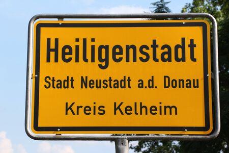Town sign of Heiligenstadt, a district of Neustadt an der Donau in Bavaria