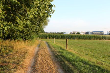 View across the fields to the spa town of Bad G?gging, a district of Neustadt an der Donau in Bavaria