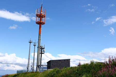 Antenna system on the summit de Wasserkuppe in the Rh?n Stock Photo