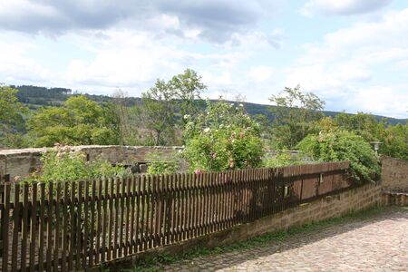 View into the rose garden of Schloss Spangenberg in Hesse
