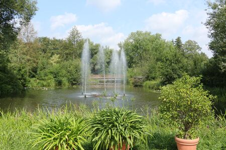 Water fountains in the spa gardens of Bad Bevensen in the L?neburg Heath Stock Photo