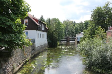 View of the river Ilmenau in the center of the Hanseatic city of Uelzen in the L?neburg Heath