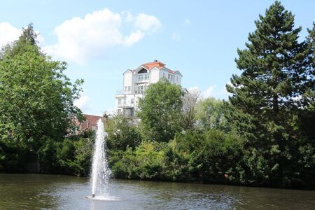 View of the Ratsteich in the center of the city of Uelzen in the L?neburg Heath Stock Photo