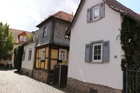 Historic buildings in the old town of Bad Nauheim in Hesse