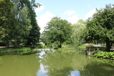 View of a small pond in the spa park of Bad Nauheim in Hesse