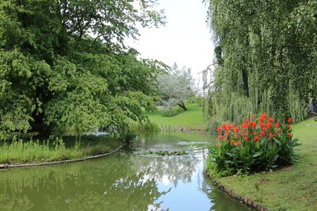 Small pond in the spa park of Bad Nauheim in Hesse Stock Photo