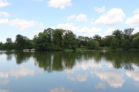 View of the large lake in the spa park of Bad Nauheim in Hesse