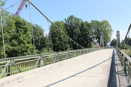 View of the suspension bridge near Langenargen on Lake Constance