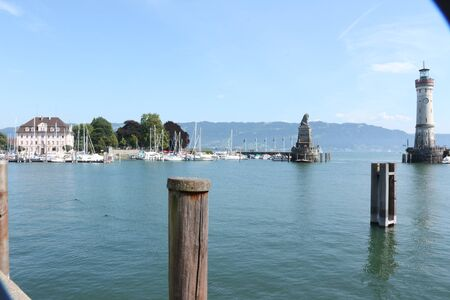 View of the harbor entrance of Lindau on Lake Constance