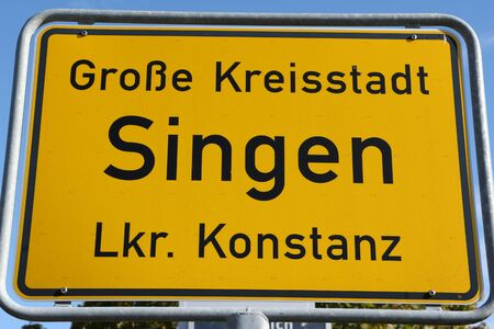 City entrance sign of the city Singen in southern Germany