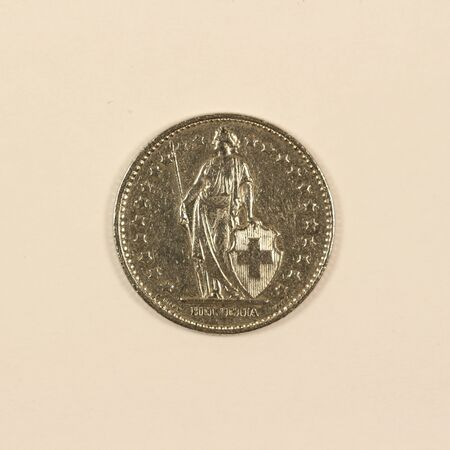 Back side of a Swiss 1-franc coin