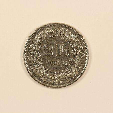 Front of a Swiss 2 franc coin Фото со стока