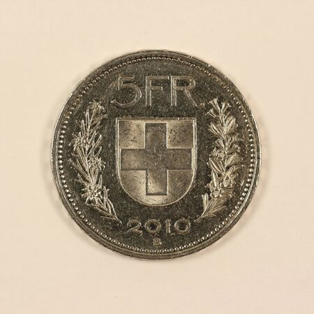 Front of a Swiss 5 franc coin