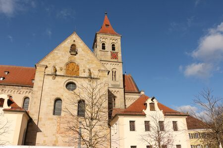 View of the Basilica of St. Vitus in the old town of Ellwangen