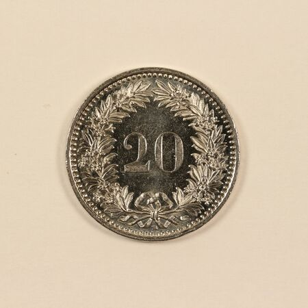 Front of a Swiss 20 centimes coin