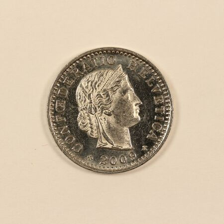 Back of a Swiss 20 centimes coin