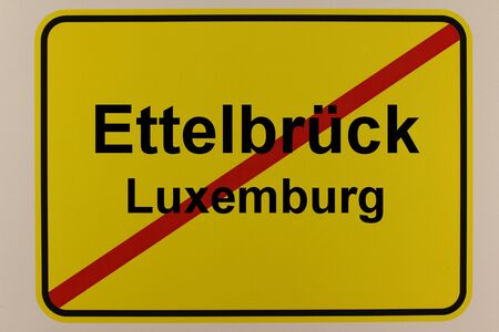 Graphic representation of the city exit sign of the city Ettelbr?ck in Luxembourg