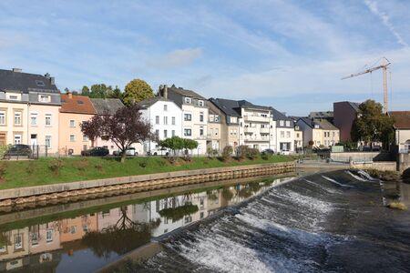 View of a river in the center of Ettelbr?ck in Lusxemburg