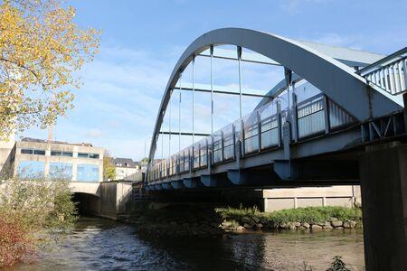 Bridge over a river in the center of Ettelbr?ck in Lusxemburg Фото со стока