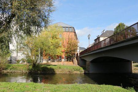 River landscape in the center of Ettelbr?ck in Lusxemburg Stock Photo