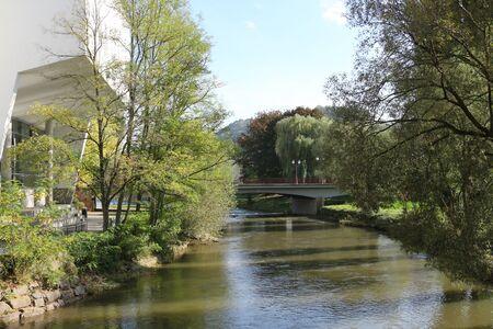 River landscape in the center of Ettelbr?ck in Lusxemburg Фото со стока