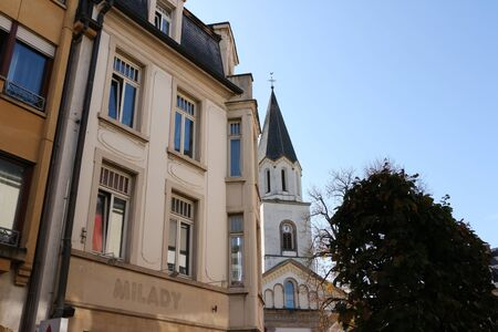Historic buildings in the Zenztrum of Ettelbr?ck in Luxembourg Фото со стока