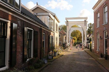 View of a traditional drawbridge in the center of Loenen aan de Vecht in Holland