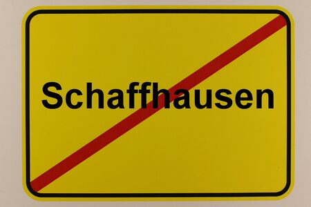 Graphical representation of the city name Schaffhausen on an entrance sign
