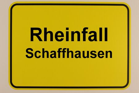Graphic representation of the Rheinfall tourist attraction on an entrance sign