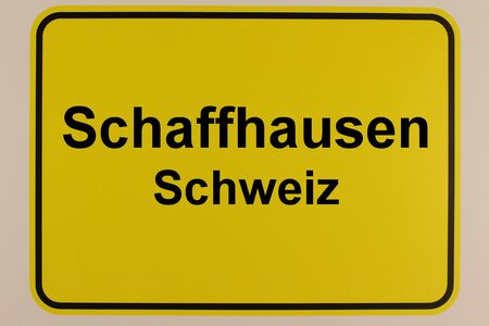Graphic representation of the city name Schaffhausen on an entrance sign
