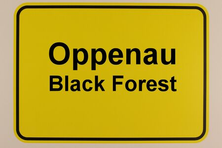 Graphic representation of the entrance sign to the city of Oppenau in the Black Forest in English