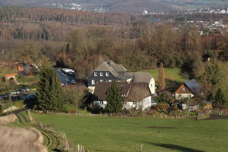 View of the outbuildings of Oelinghausen Abbey in the Sauerland Stok Fotoğraf