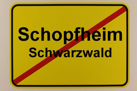 Graphic representation of the city exit sign of the city of Schopfheim in the Black Forest