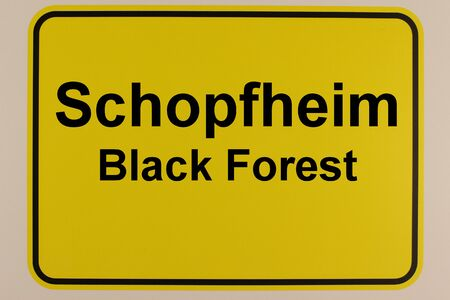Graphic representation of the city entrance sign of the city of Schopfheim in the Black Forest Standard-Bild