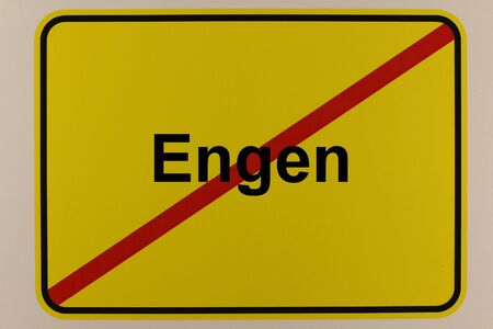 Graphic representation of the exit sign of the city of Engen in southern Germany Standard-Bild