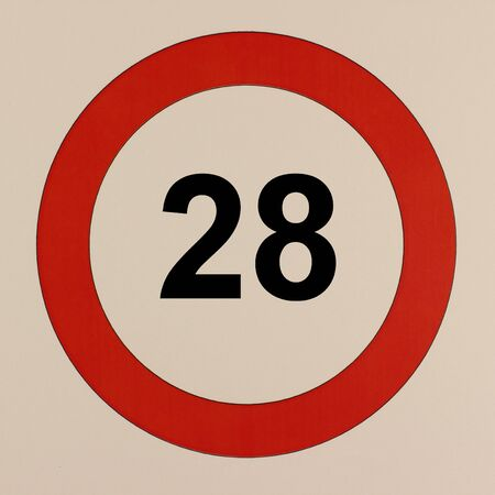 Graphic representation of the road traffic sign maximum speed 28 km / h Stock Photo