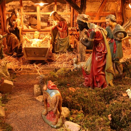 Traditional nativity scene at Christmas time