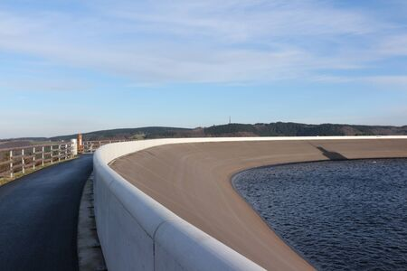 View of the upper basin of the pumped storage power plant in Finnentrop in the Sauerland 写真素材
