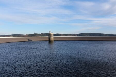 View of the upper basin of the pumped storage power plant in Finnentrop in the Sauerland Standard-Bild