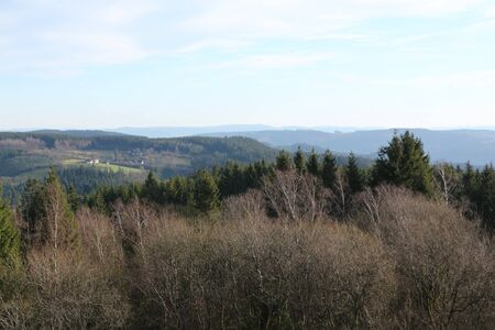 View from the upper basin of the pumped storage power plant in Finnentrop over the Sauerland