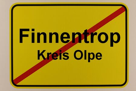 Graphic representation of the exit sign of the municipality Finnentrop in the Sauerland