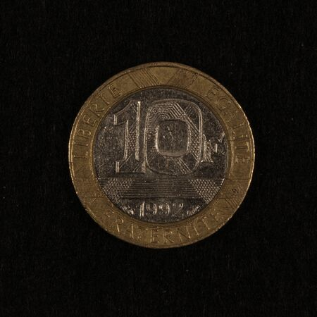 Obverse of a former French 10 Franc coin Banco de Imagens