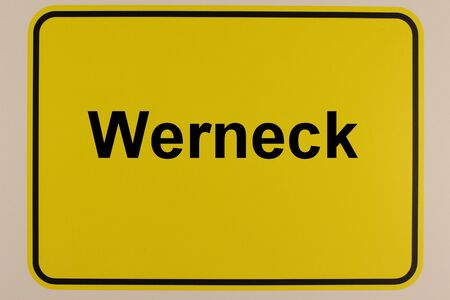 Graphic representation of the city name Werneck on a city entrance sign