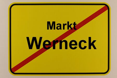 Graphic representation Representation of the city exit sign of Werneck in Bavaria