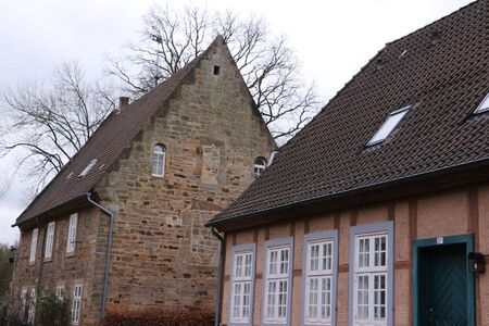 Traditional half-timbered house on the monastery grounds of Kloster Loccum in Lower Saxony
