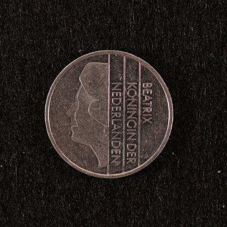 Back side of a former Dutch 1 Guilder coin Banco de Imagens