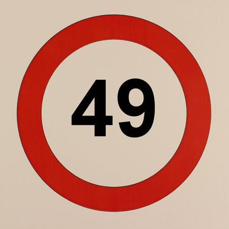 Graphic display of the road traffic sign maximum speed 49 km  h