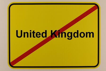 Illustration of a city entrance sign on Great Britain - Brexit