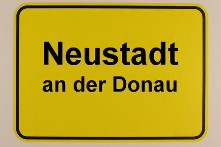 Illustration of the entrance sign of Neustadt an der Donau in Bavaria Banco de Imagens