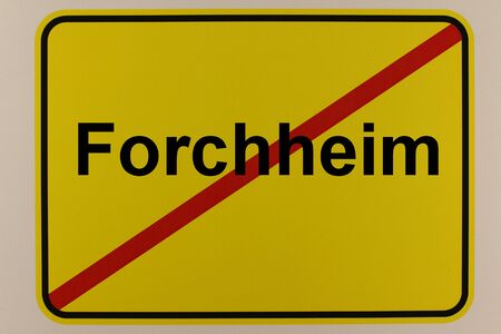Illustration of the exit sign of the city of Forchheim in Bavaria